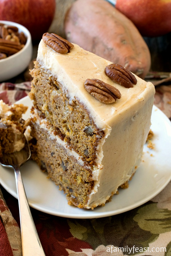 Sweet Potato and Apple Cake - A super moist and delicious cake filled with nuts and raisins in a cake batter of sweet potato and apples. Superb!