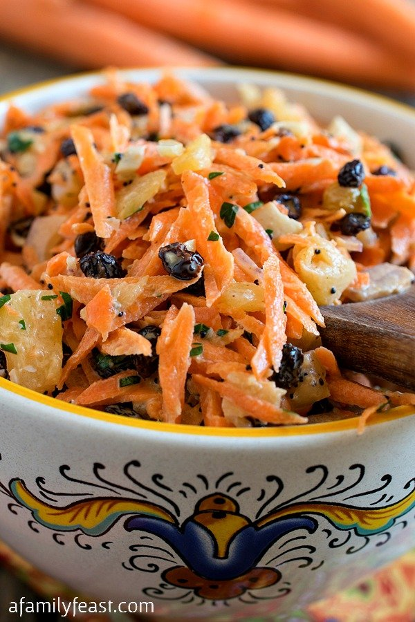 This easy Carrot Salad is made with fresh in-season carrots and it's a little bit sweet and a little bit savory.