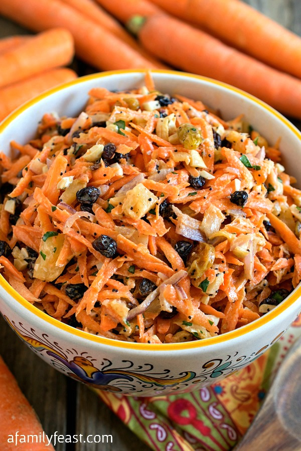 Carrot Salad - This easy salad made with fresh in-season carrots is a little bit sweet and a little bit savory. A perfect side dish for any meal!
