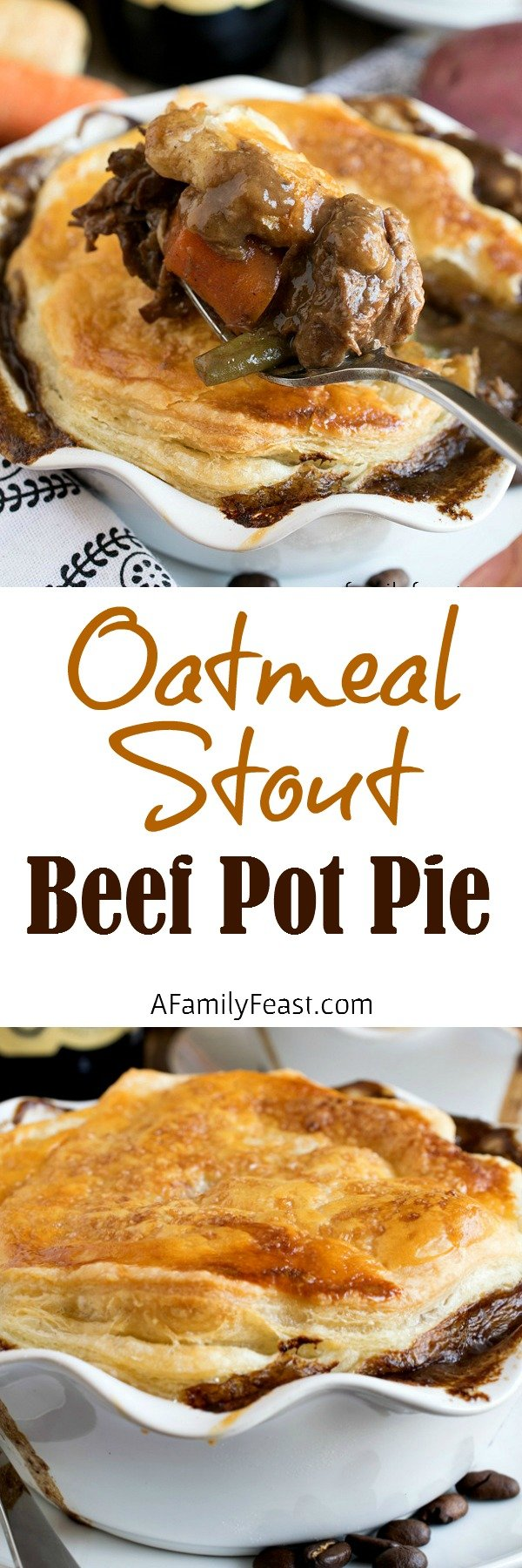 Oatmeal Stout Beef Pot Pie - A hearty and rich beef pot pie with a puff pastry top. Pure comfort food!