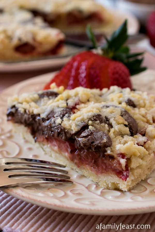 Strawberry Nutella Crumb Torte - A decadently delicious dessert! A light, buttery crumb cake filled with fresh strawberries and Nutella.