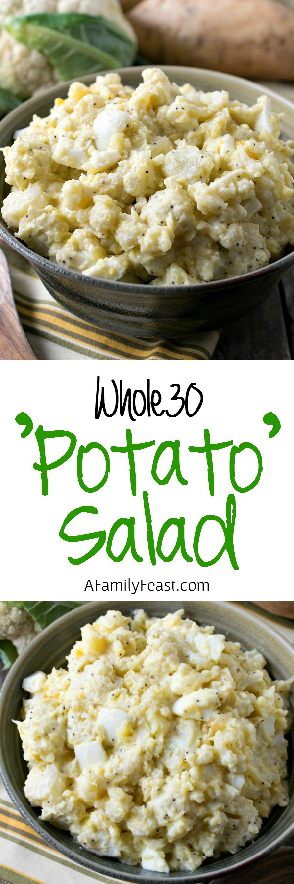 Whole30 Cauliflower and Yam 'Potato' Salad - This lower carb version has all of the same great flavors of our favorite potato salad!