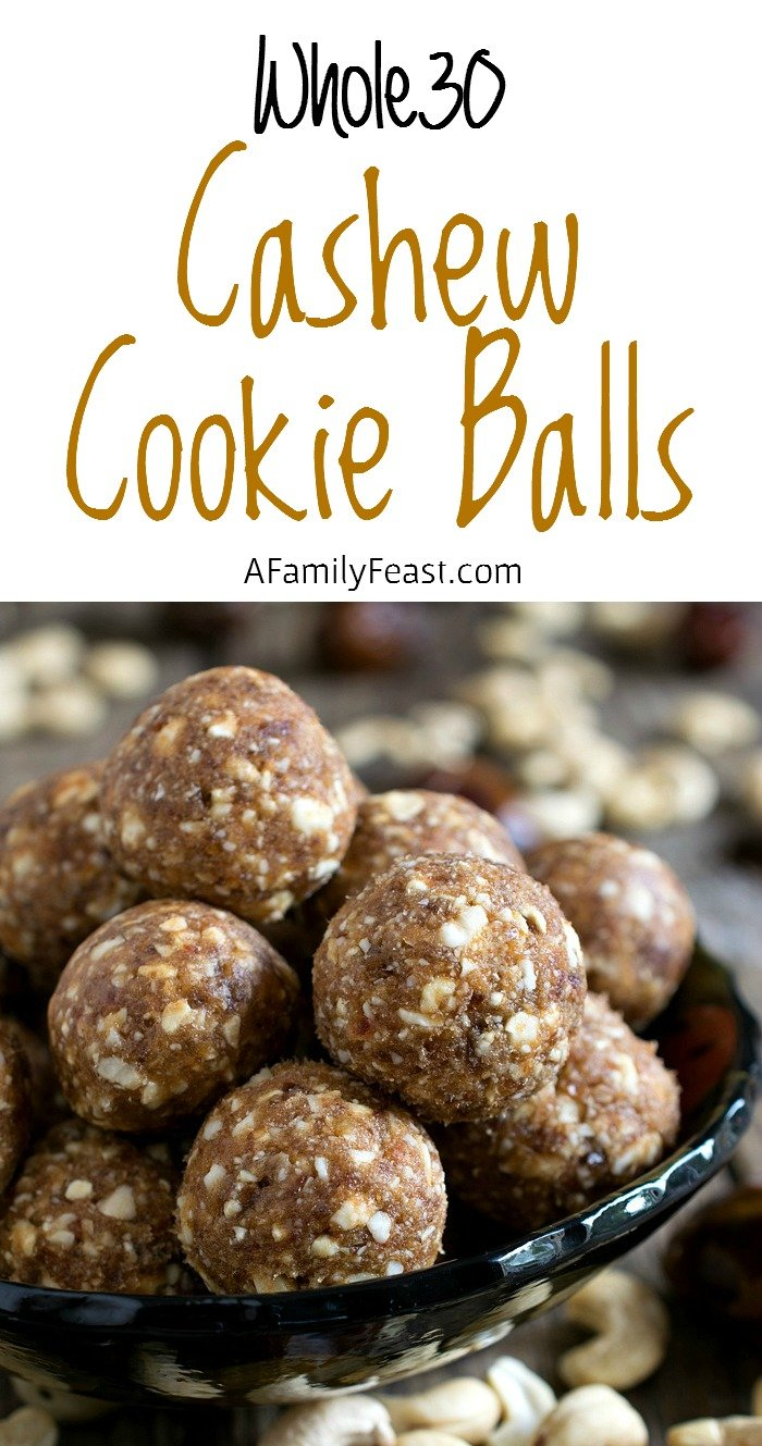 Cashew Cookie Balls - This copycat version of the Cashew Cookie Larabars is easy to make and just as delicious!