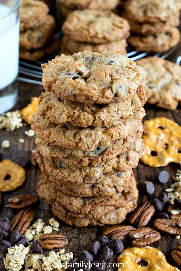 Crunchie Munchie Cookies - Filled with chocolate, granola, pretzels and nuts, these cookies are the perfect salty-sweet treat when you have the munchies!