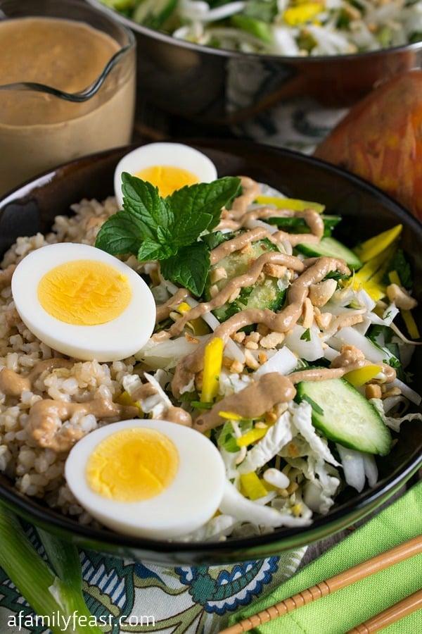 Crunchy Vegetable Rice Bowl with Warm Peanut Sauce - A Family Feast