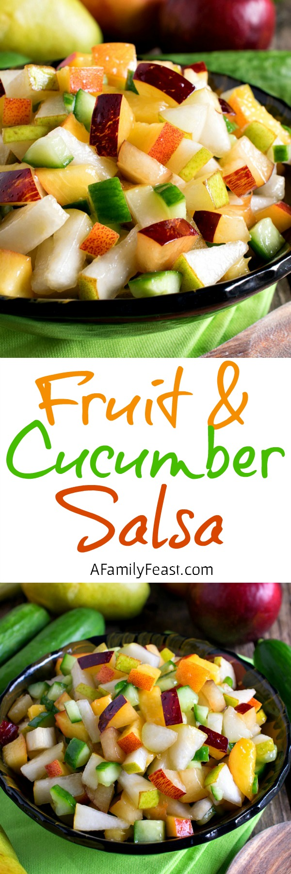 Fruit and Cucumber Salsa - A surprisingly delicious flavor combination! Fantastic side dish to any grilled meal or eaten with chips!