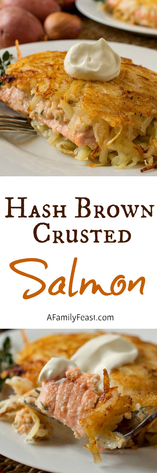 Hash Brown Crusted Salmon - A tender salmon filet encrusted in a hash brown coating! So delicious!