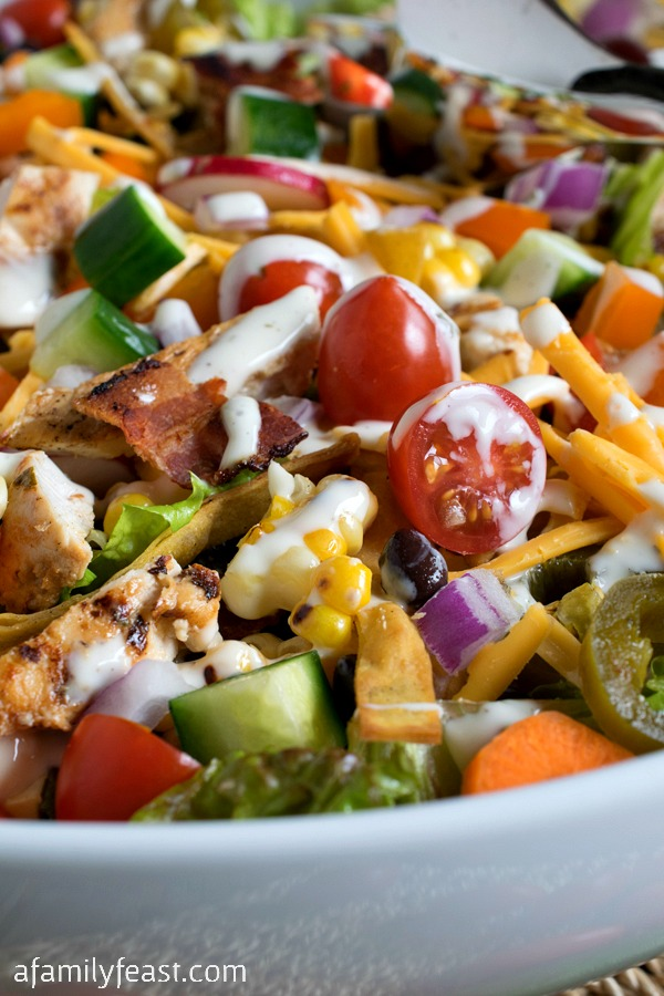 Ranch Chicken Chopped Salad - Grilled chicken, fresh veggies, tortilla strips and cheese - plus a delicious Ranch Dressing!