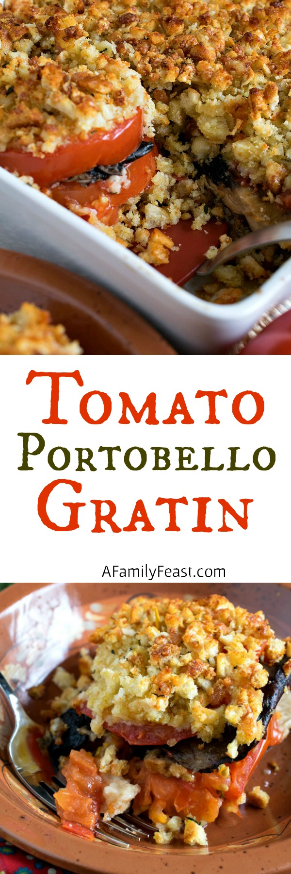 Tomato Portobello Gratin - A fantastic, flavorful side dish or meatless meal.