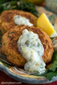 Whole30 Salmon Cakes with Tartar Sauce - A Family Feast