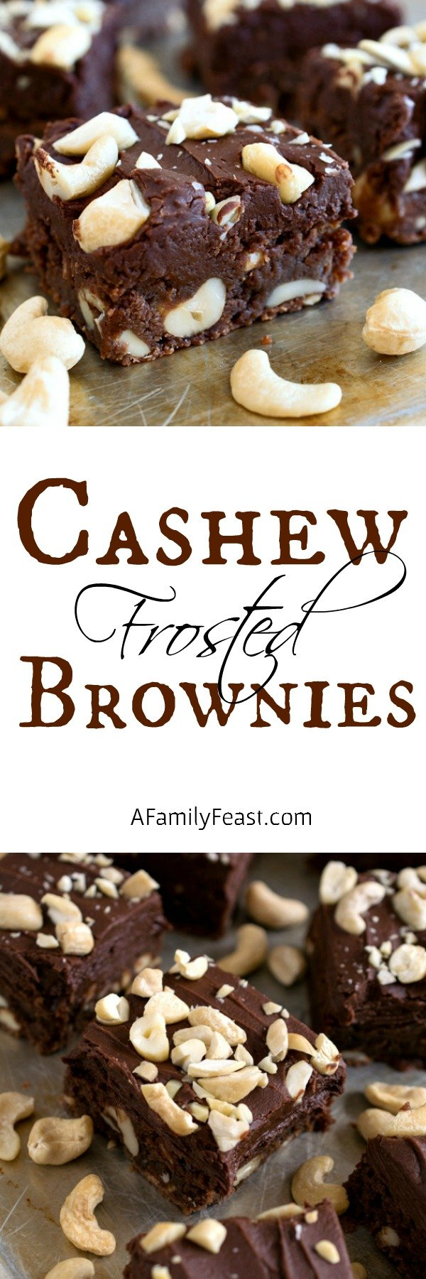 Cashew Frosted Brownies - Decadently delicious, fudgy and dense chocolate frosted brownies loaded cashews!