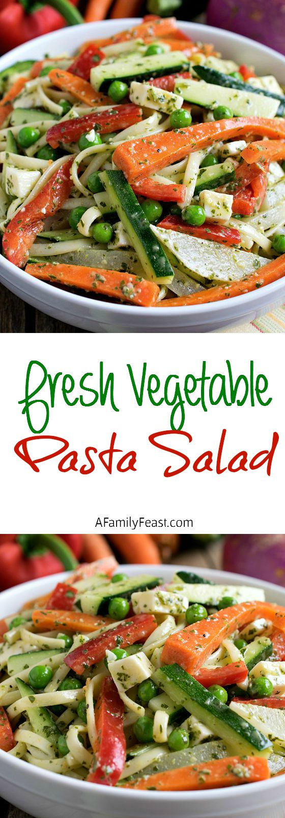 Fresh Vegetable Pasta Salad - An easy, delicious pasta salad. Make it ahead of time and pack up for lunches on-the-go! Perfect for busy families!