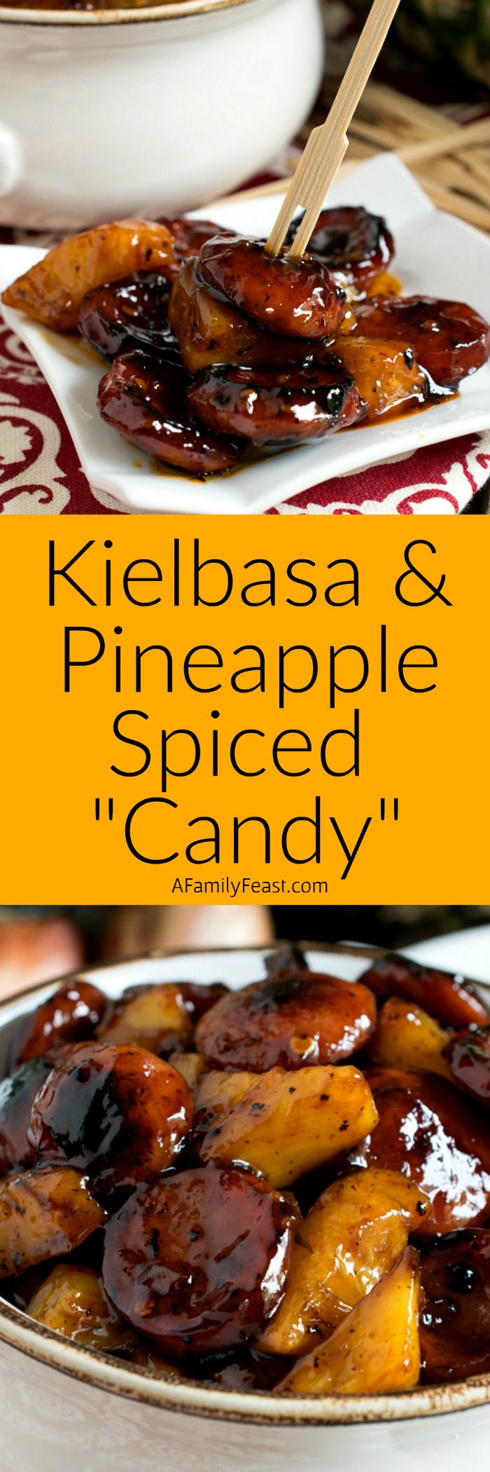 "This sticky-sweet Kielbasa and Pineapple Spiced ""Candy"" is so good, it's sure to become a favorite at your next barbecue!"