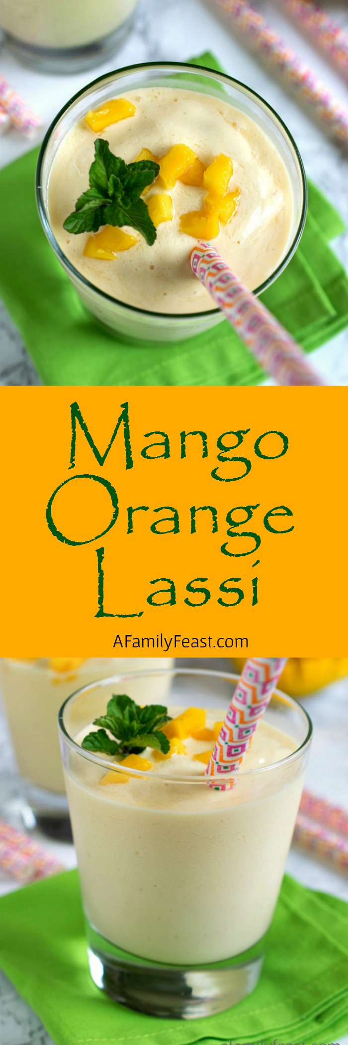Mango Orange Lassi - A refreshing yogurt drink with sweetness from mango and orange. Perfect with any spicy meal!