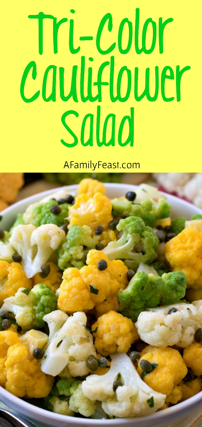 Tri-Color Cauliflower Salad - A light and zesty salad made with rainbow cauliflower. Great for summer cookouts!