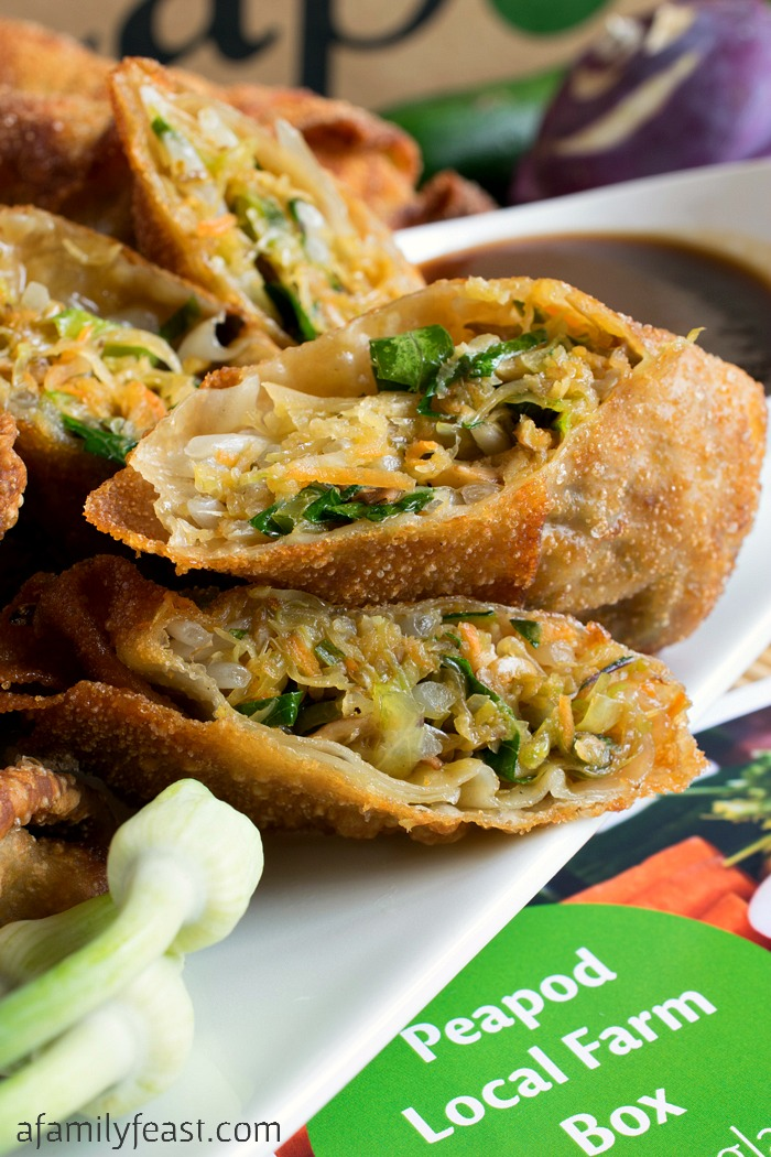 A delicious Vegetable Egg Rolls recipe inspired by the vegetables from our Peapod Local Farm Box.