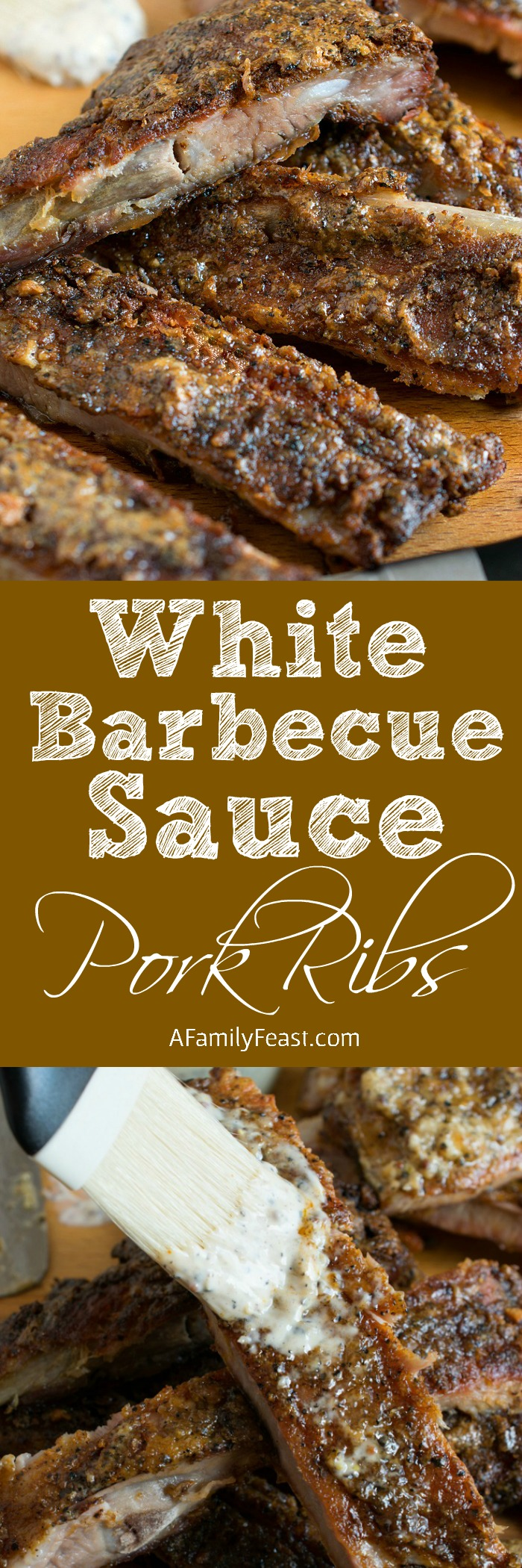 White Barbecue Sauce Pork Ribs - A delicious change from the same old barbecued ribs! This zesty, peppery white sauce is fantastic on ribs!