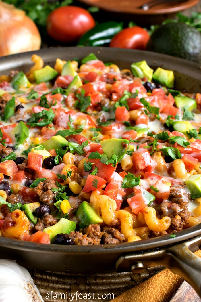 One Pot Tex-Mex Pasta - Dinner is delicious and cleanup is easy with this one-pot meal!