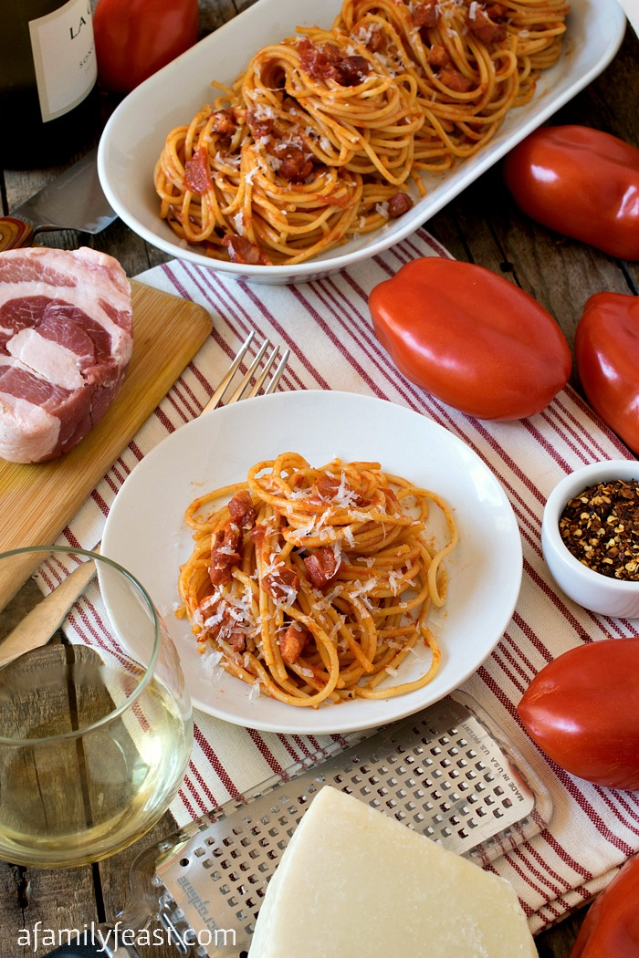 Spaghetti all' Amatriciana - A simple, classic pasta dish with fantastic flavor from Amatrice, Italy. #VirtualSagra
