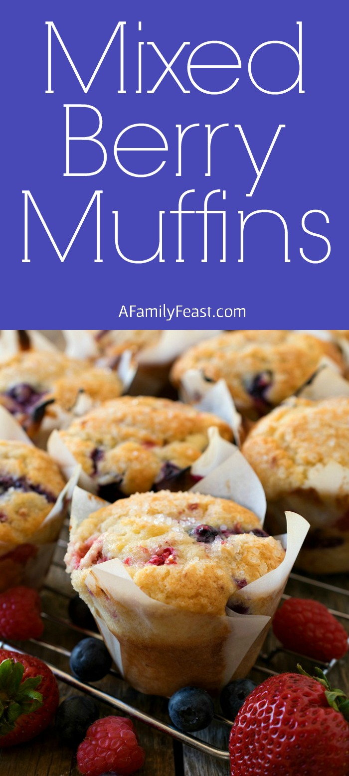 Our Mixed Berry Muffins are a wonderful taste of summer thanks to a generous amount of fresh strawberries, raspberries and blueberries that we loaded into the sweet muffin batter.