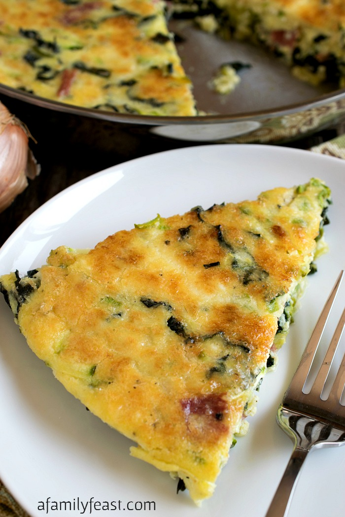 Zucchini Frittata with Tuscan Kale - A delicious vegetable-filled frittata that is perfect for breakfast, lunch or dinner. Great way to use up your garden zucchini!