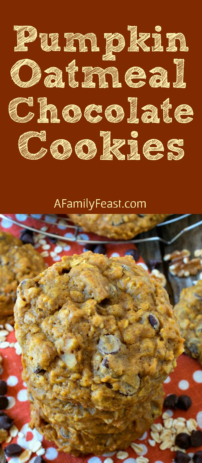 Pumpkin Oatmeal Chocolate Chip Cookies - Giant, tender cookies loaded with pumpkin, oats, chocolate chips and walnuts! Incredible!