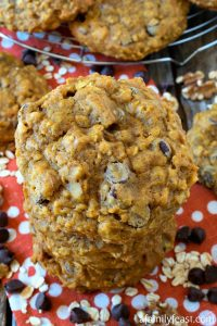 Pumpkin Oatmeal Chocolate Chip Cookies - A Family Feast