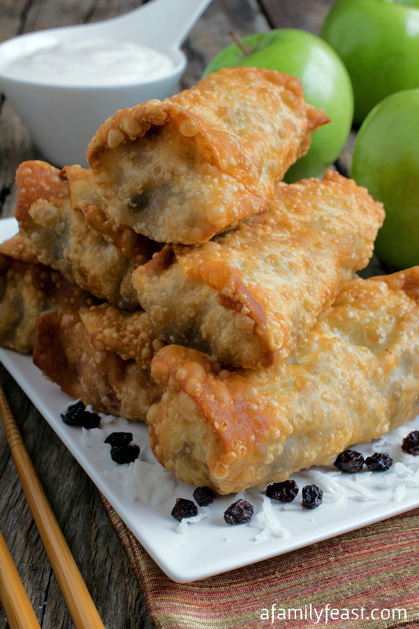 Asian Spice Apple Egg Rolls - Chinese Five Spice Powder adds a unique and spicy twist to these delicious dessert egg rolls.