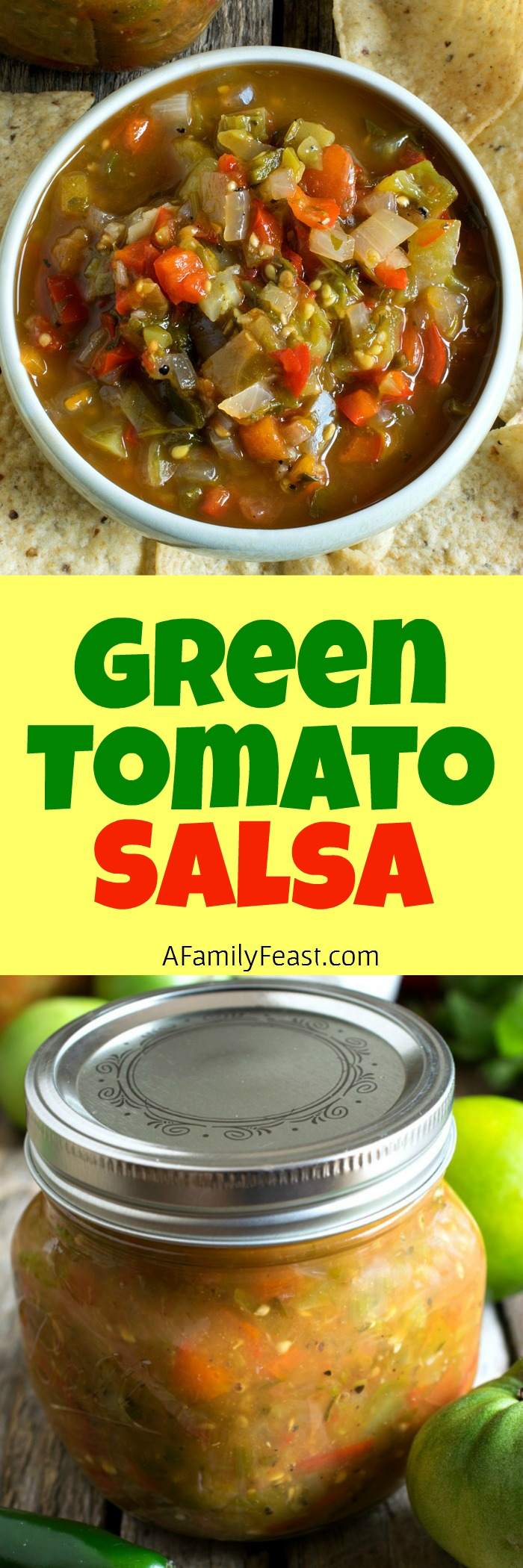 Green Tomato Salsa - A fantastic, zesty salsa perfect for using up end-of-season, green garden tomatoes.