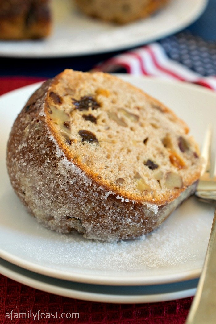 Hartford Election Cake - A vintage recipe with American history! Lightly sweet cake filled with nuts and dried fruit and frosted with sugar.