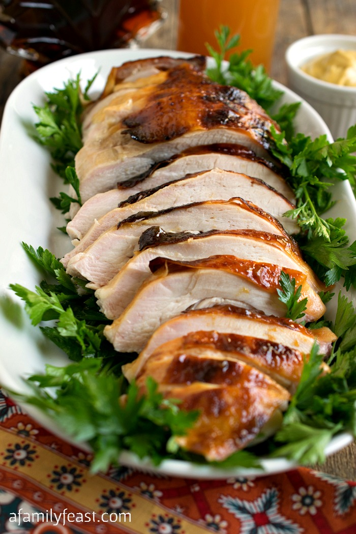 This Maple Cider Glazed Turkey is so delicious it just might become your new go-to family recipe for Thanksgiving turkey!