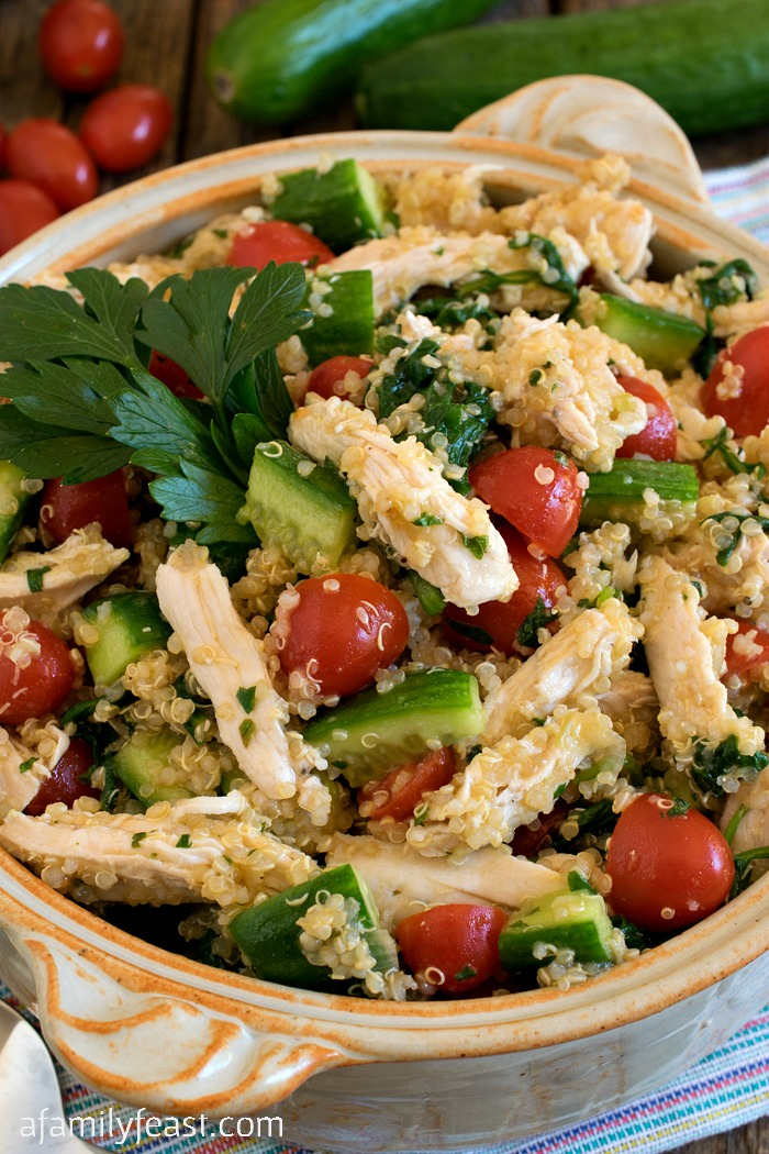 Quinoa Chicken and Vegetable Salad - A light and delicious salad filled with organic chicken and vegetables. #OrganicForAll