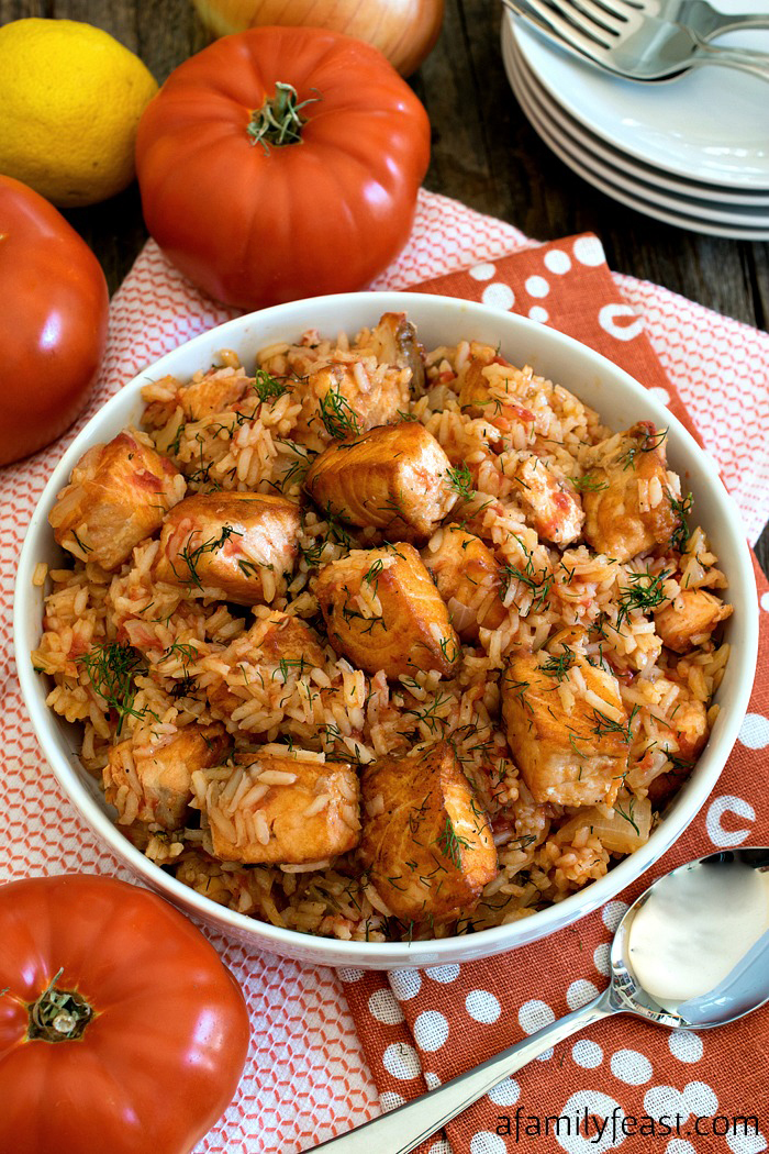 Sautéed Salmon with Rice and Tomatoes - A simple meal that is so delicious, you'll think you are eating at a coastal seafood restaurant!