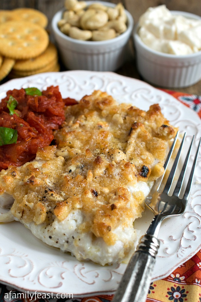 Baked Haddock with Cashew Cracker Crust - Just a few ingredients plus 15 minutes to bake and you'll have a delicious dinner on the table!