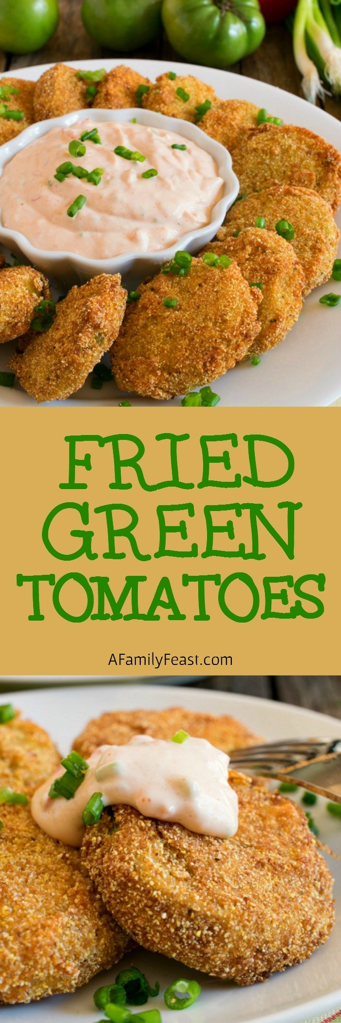 Fried Green Tomatoes with a creamy, zesty dipping sauce. Perfect for cooking with end-of-garden green tomatoes!