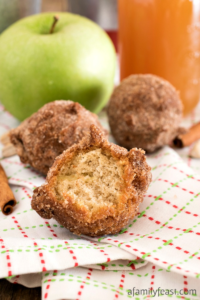These easy Apple Cider Doughnut Holes take only minutes to make – and it will have your kitchen smelling like a doughnut shop!