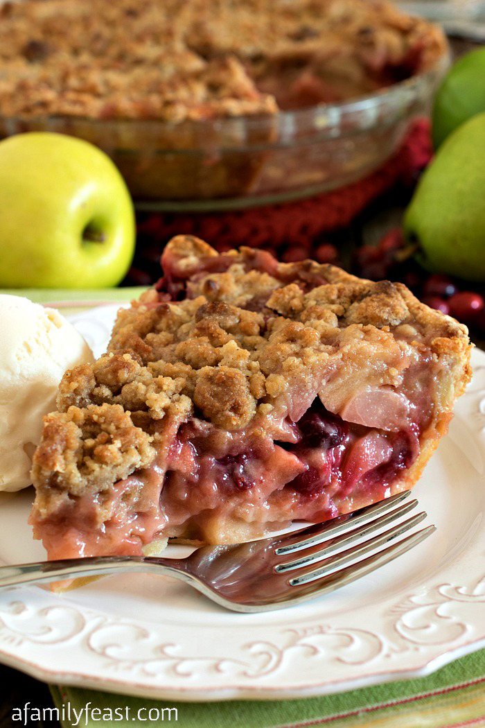 Fall Fruit Pie - A delicious crumb-topped pie filled with apples, pears and cranberries. Delicious!