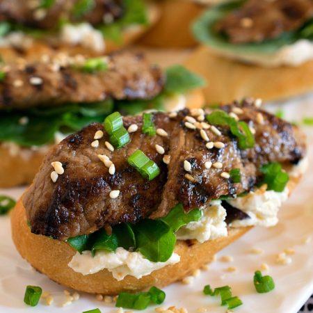 Black Garlic Bulgogi Beef Crostini - A Family Feast