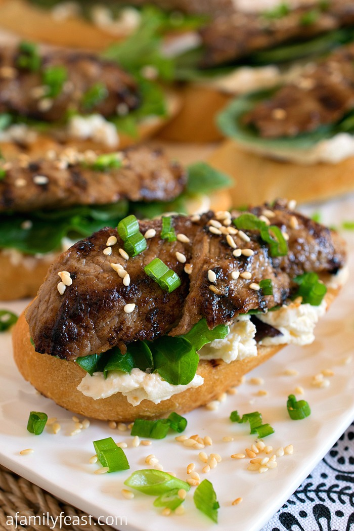Black Garlic Bulgogi Beef Crostini - A Family Feast