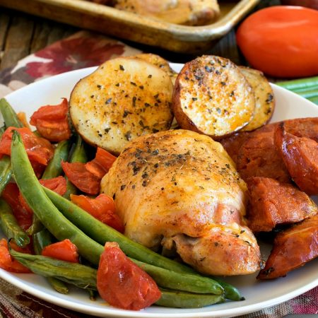 Chicken and Linguica Sheet Pan Dinner - A Family Feast