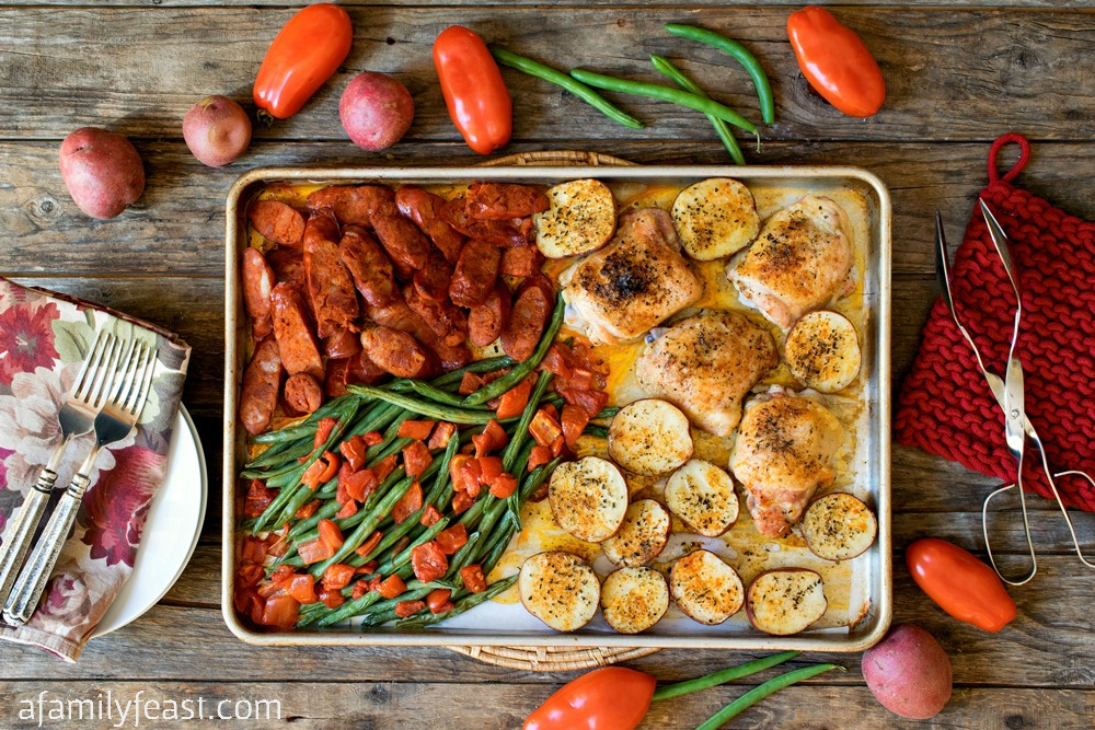 Chicken and Linguica Sheet Pan Dinner - This flavorful Portuguese-inspired dinner is easy to prepare and even easier to clean up afterwards!