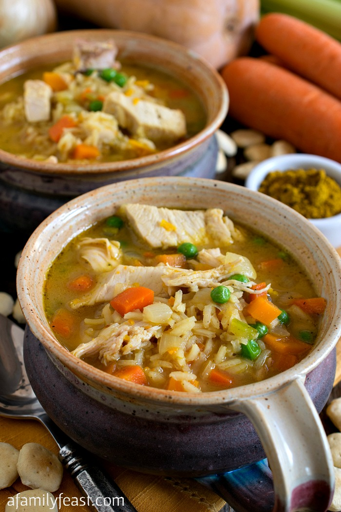 Curried Turkey & Rice Soup - A delicious, lightly spiced, creamy soup that is perfect for using up Thanksgiving leftovers.