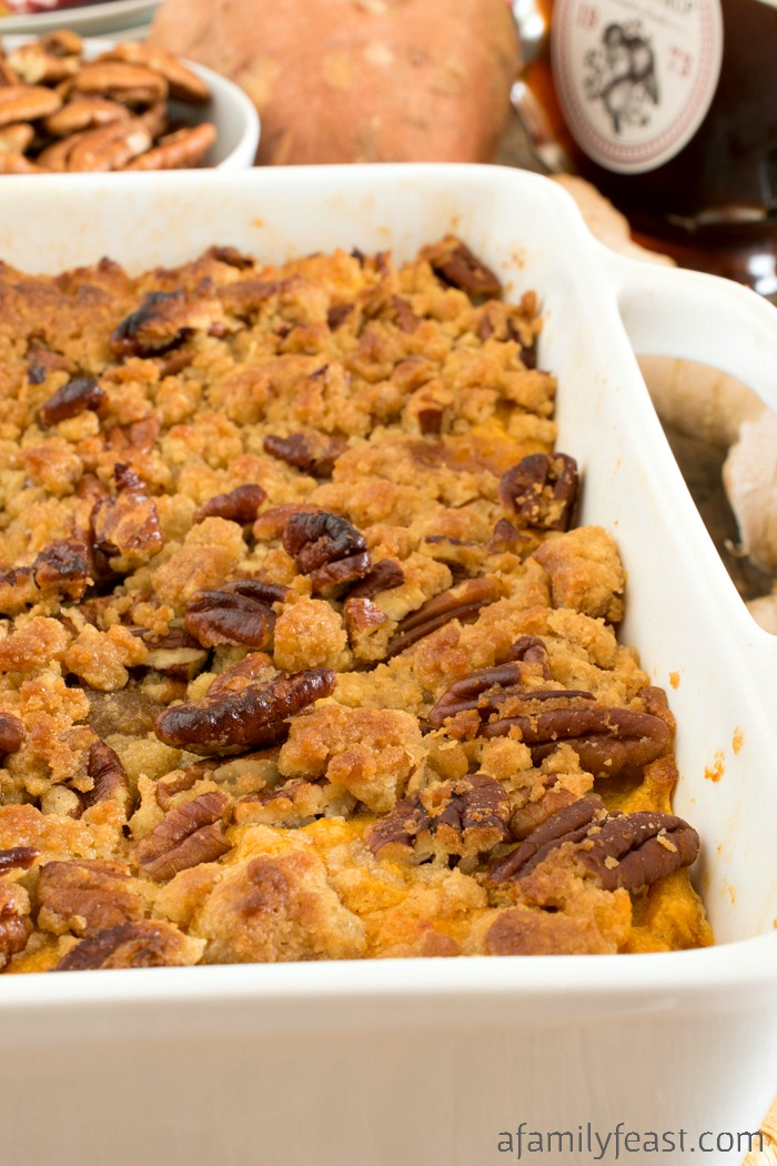 Our best Ginger Maple Sweet Potato Casserole takes the traditional Thanksgiving side dish – and makes it even better!