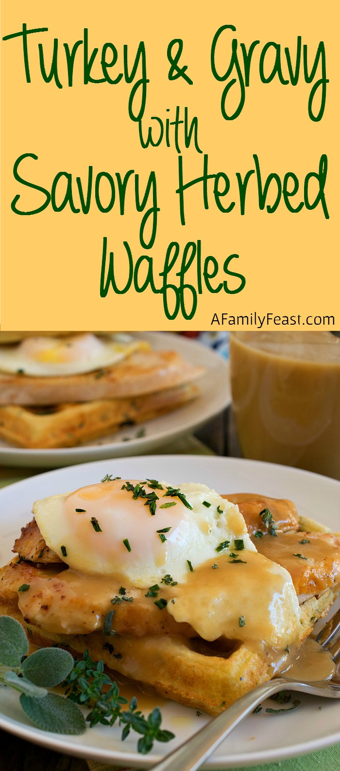 Turkey and Gravy Savory Herbed Waffles - Enjoy a fantastic breakfast made with Thanksgiving leftovers!