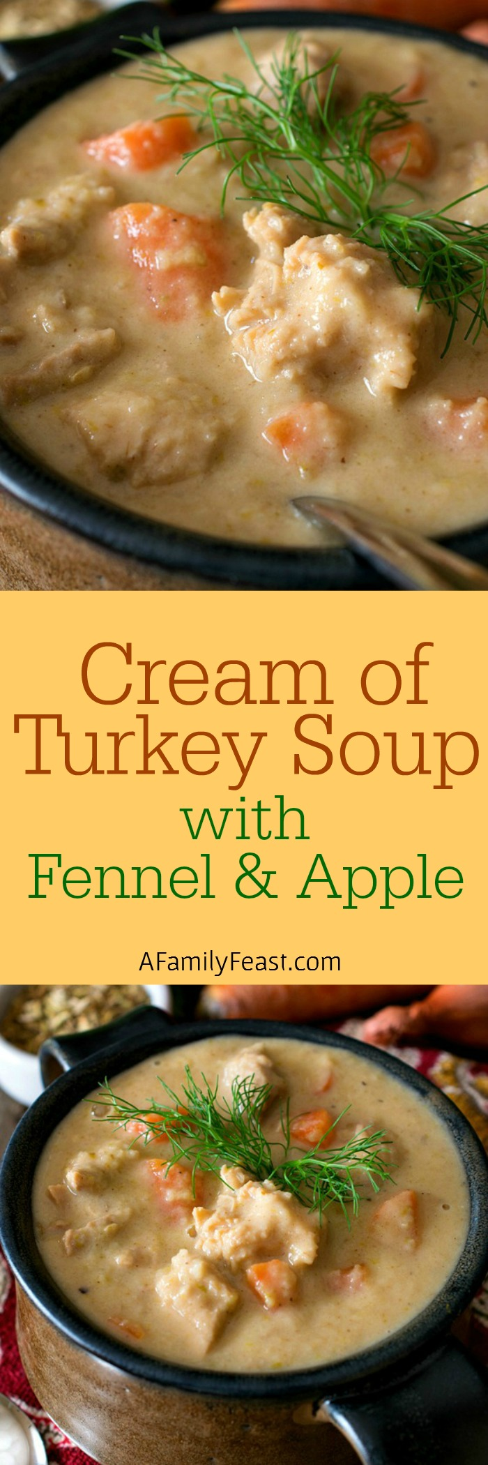 Cream of Turkey Soup with Fennel and Apple - Not your average cream of turkey soup! Great for cooking with Thanksgiving leftovers.