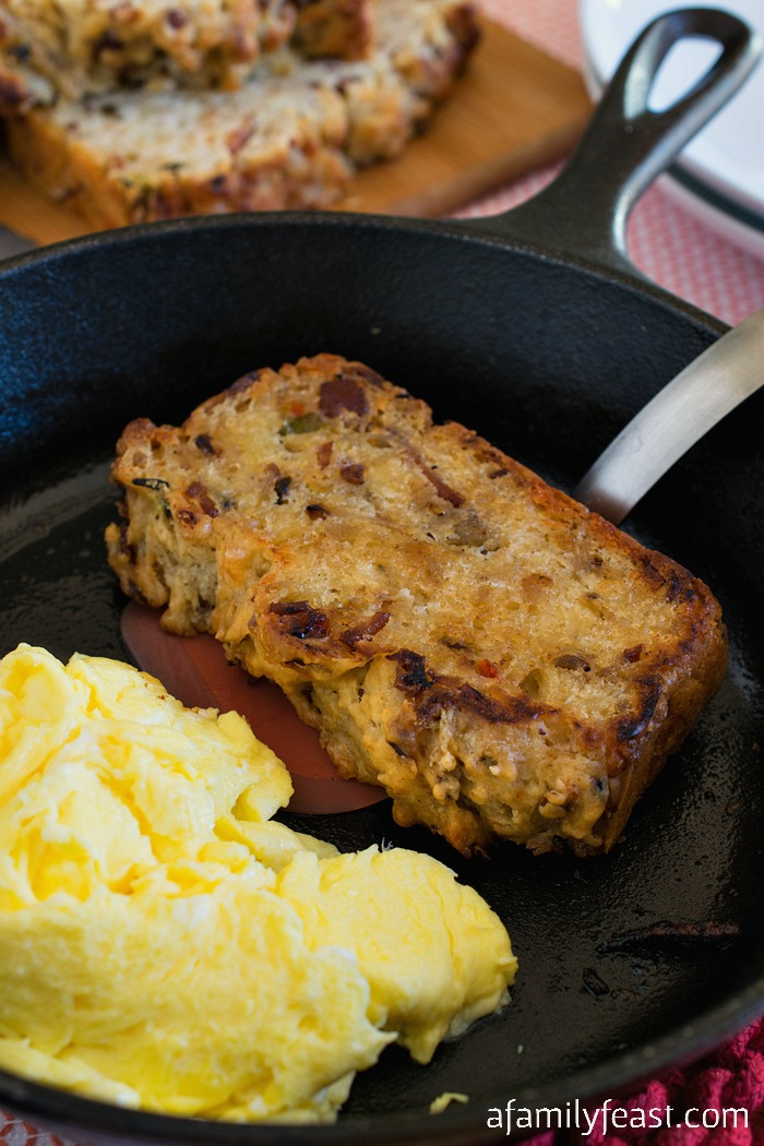 Bacon and Hash Browns Breakfast Bread - A hearty and delicious bread loaded with potatoes, bacon and cheese.