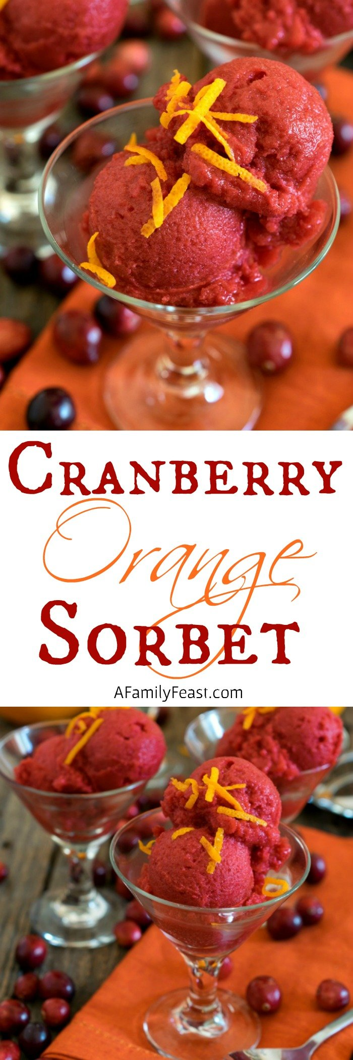 This sweet-tart Cranberry Orange Sorbet is a deliciously refreshing dessert!