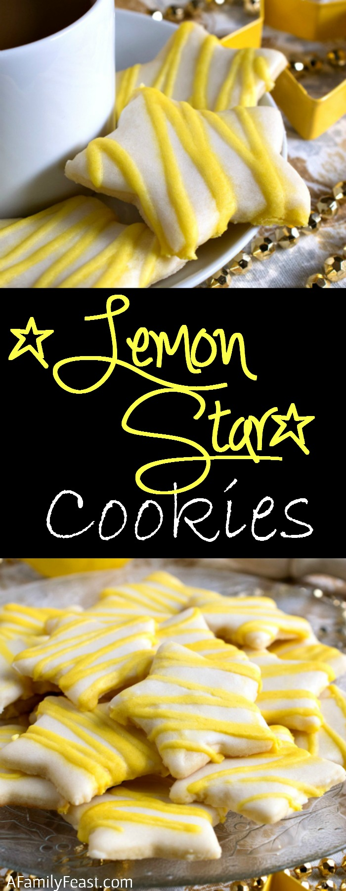 Lemon Star Cookies - Tender, sweet sugar cookies topped with a lemon icing. Absolutely delicious!