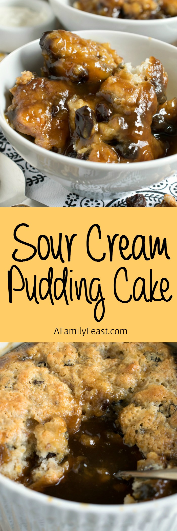 This Sour Cream Pudding Cake bakes up light and spongy on top with a rich, sweet, syrupy, caramel, raisin and walnut sauce on the bottom. It's heavenly!