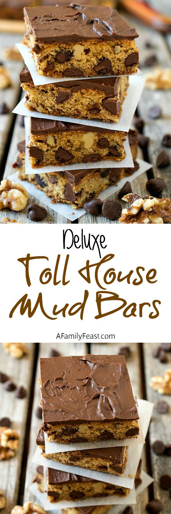 Deluxe Toll House Mud Bars - Chocolate chip and walnut cookie bars frosted with even more melted Toll House semi-sweet chocolate chips!
